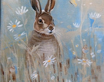 Brown Hare and Daisies