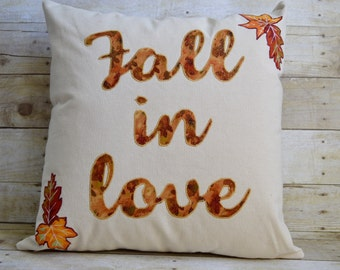 Fall in Love Pillow,Fall Pillow,Fall Wedding Pillow,Fall Decor,Worded Pillow,Halloween Home Decor,Fall Leaves,Fall Decorations