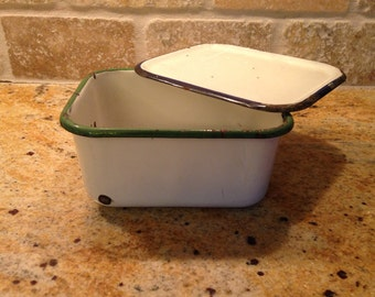 Enamelware Refrigerator Dish /Butter Dish / Covered Dish / Green and Navy