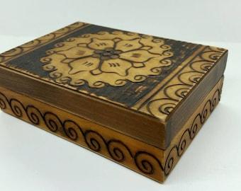 Hand Carved Wood Box, Vintage Wood Box, Rustic Wood Box, Wooden Box, Jewelry Box, Keepsake Box, Pyrography Box, Handmade Box, Home Decor