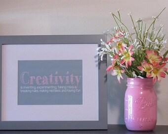 Creativity print, Inspirational print, Wall Decor, Nursery Decor, Motivational print, Motivational poster,  Pink n Grey, Nursery Wall Print