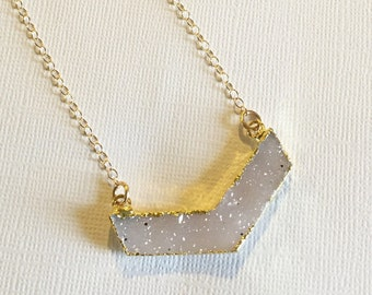 Druzy Chevron Pendant Necklace