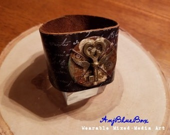 Owl-Key Totem - Mixed-Media Art Cuff