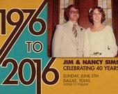 40th Anniversary Party Invitation/Announcement (Digital File)
