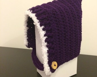 Crochet baby pixie / elf hat with soft fleece trim available in various sizes and colours PURPLE