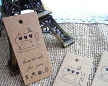 25pcs Zakka Style Kraft  HANDMADE FOR YOU printed Swing Tags/Gifts Tags/5.7x2.4cm