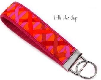 Keychain Wristlet, Key Fob Wristlet, Fabric Key Fob, Fabric Keychain, Key Holder, Key Chain, Fabric Key Holder, Pink and Orange