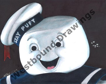 Ghostbuster-Stay Puft Marshmallow Drawing Print