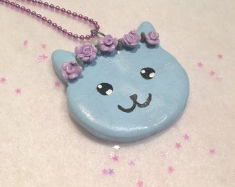 Hand Crafted Flower Cat Necklace