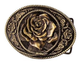 Womens Belt Buckle Copper belt buckle with rose