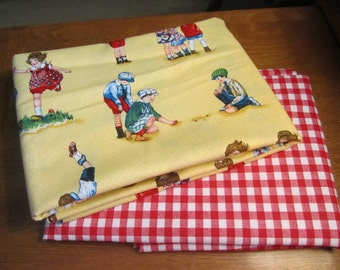 Michael Miller fabric 2yd Bundle Recess Vintage childrens fabric Red Check Gingham fabric