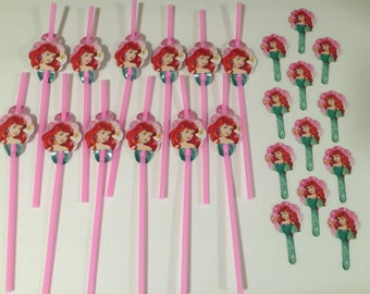 Ariels straws (12) and cupcake toppers (12)