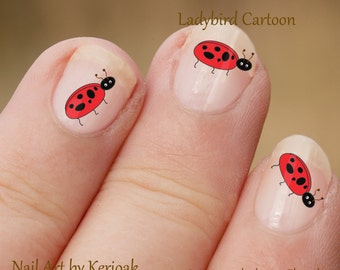 Ladybird Nail Art Stickers, Ladybug Nail decals, nail decal, nail stickers, pretty fingernails, red and black, cute
