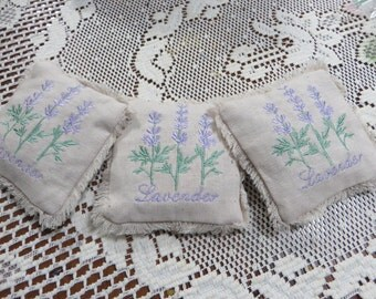 LAVENDER SACHETS EMBROIDERED         All Natural    Lavender Scented