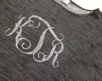 Woman's Customized Iron on Monogram Yoga Sweatshirt, personalized, Charcoal Heather Gray Sweatshirt and Vinyl Colors