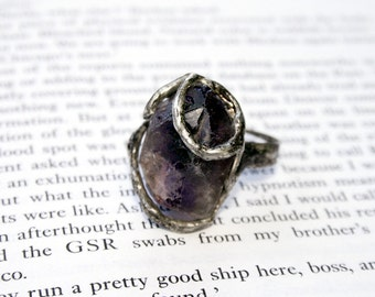statement ring, raw amethyst ring, amethyst ring, adjustable ring, organic ring, raw ring, gemstone jewelry, retro ring, mother gift