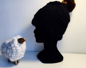 Wool and Pompom Hat faux fur