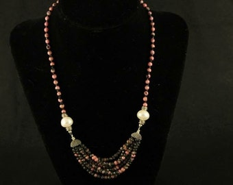 Long Multistrand Rhodonite Pendant Necklace with Pearls