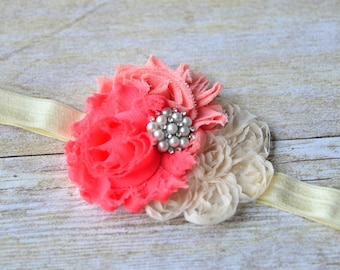 Coral/cream headband for ages 1-8 years old