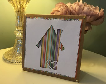 Handmade New home / moving card - Square -Blank inside