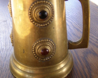 Vintage Brass Stein with 6 medaillon cabochon