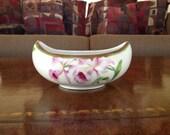 Royal Bavaria Boat Shaped Pink Orchid Art Nouveau Bowl by Artist Dubois
