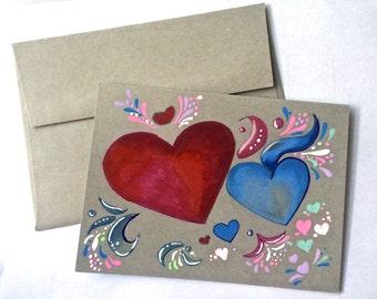 So many vibrant hearts Mixed media art card