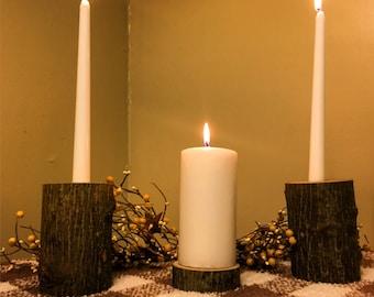 Wooden unity candle - rustic wedding decor - Woodland wedding decor