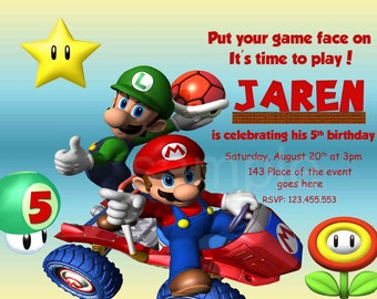 Super Mario Invitation. Super Mario Birthday Invitation. Super Mario Bros Invitation. Digital (you print) With or Without Photo Layout