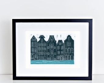 Amsterdam Canals Linocut Art Print 8x10 4x6 artwork