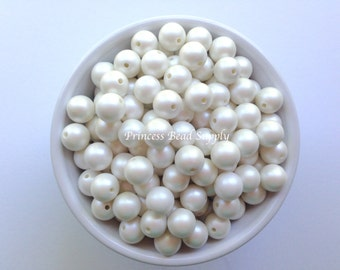 12mm White Matte Pearl Beads Set of 20 or 50, White Matte Pearls,  12mm Bubble Gum Mini Chunky Beads,  Gumball Beads,  Acrylic Beads