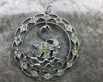Swan Pendant, Silver and Rhinestone Pendant, Swan Rhinestone Pendant, Round Swan Pendant, Collectible Pendant, Vintage Pendant