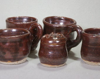 Set of 4 Miniature Stoneware Cups and Lidded Sugar Bowl in Reddish Brown