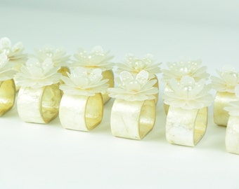 Mother of Pearl Napkin Rings with Floral Pattern Flower Set 12 Pieces