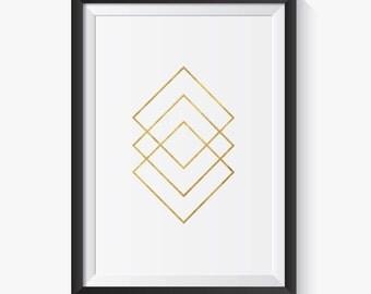Minimalist Print, Minimalist Art, Minimalist, Gold Print, Gold Art, Wall Art, Geometric, Geometric Print, Scandinavian Print, Printable Art