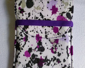 Phone Carry Pouch - Purple, black and silver Ink Splatters on white.  Light purple lining and purple hand strap.  Padded Cotton Fabric.