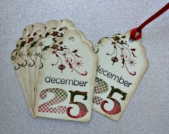 Christmas Tags, December Tags, Holiday Hang Tags, Rustic Xmas Tags, Homemade Gift Tags, Distressed Tags, Stamped, Colorful Tags, Set of 8