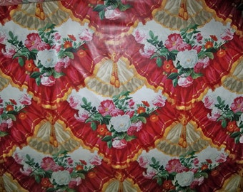 LEE JOFA KRAVET Le Grand Opera Chintz Fabric 3 Yard Remnant Ruby Red Gold Green Multi