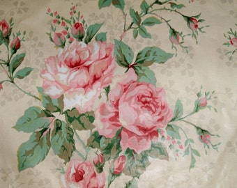 BRUNSCHWIG & FILS Romantic Roses COURTNEY Chintz Toile Fabric 10 Yards Blush Pink Cream