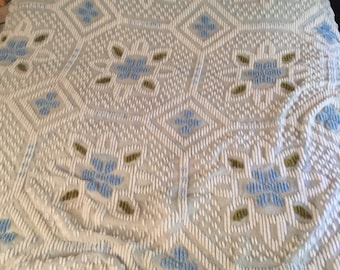 vintage blue and green 76x104 twin size chenile bedspread,twin blanket