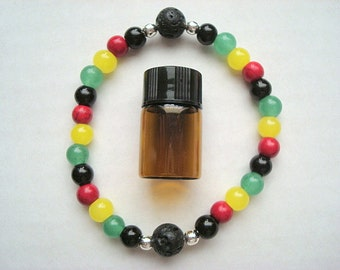 Rasta Essential Oil Bracelet, Reggae Bracelet, Essential Oil Bracelet, Rastafari Jewelry, Aromatherapy Bracelet, Rasta Jewelry
