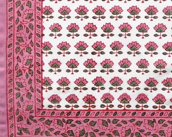 Pink or Blue Butti Hankies Hand Block Printed on Organic Cotton