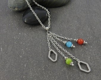 SALE - Long necklace, cat eye beads three colors, lime green, turquoise, orange, stainless steel chain, stainless steel
