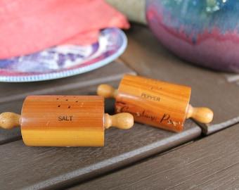 Vintage Wooden Salt and Pepper Shakers