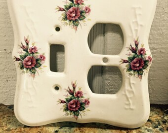 Switch Plate Cover Vintage Glass Porcelain Floral Shabby Chic Deep Creek Shabby Decor