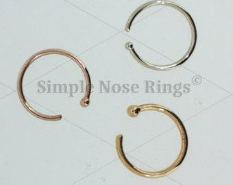 """10kt Solid Gold 8MM, 22 Gauge Nose Ring Hoop 5/16"""" Open Hoop with Ball. Septum, Tragus, Cartilage, Nose Jewelry. Yellow, White or Rose Gold"""