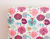 Fitted cot sheet/ pink aqua nursery/ trees crib sheet/ forest nursery bedding/ girl baby shower/ whimsical bedroom/ cotton nursery decor