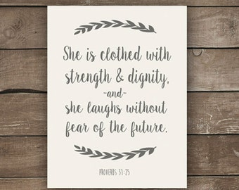 Proverbs 31:25, Farmhouse Style, Wall Print