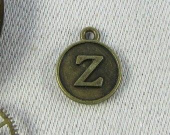 "Bronze Medallion Letter ""Z"" Charm 1 or 5 letters per package ALF012z-BZ"