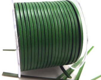 Leather flat green 3mm per 1 meter